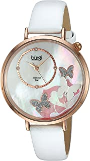 Burgi BUR158 Skinny Leather Women's Watch with Crystal Butterflies, Genuine Diamond Markers and Flower Designs on Mother of Pearl Dial – Classic Round Analog Quartz