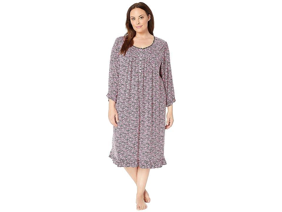 Eileen West Plus Size Knit Modal Waltz Nightgown (Black Multi Ditsy Floral) Women