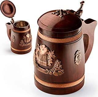 Handmade Beer Tankard With Lid - Stein Is Large And Heavy Duty - Crafted From Solid Oak - Amazing Craftsmanship and Quality Materials - Mug is Lined With Stainless And Features (1)