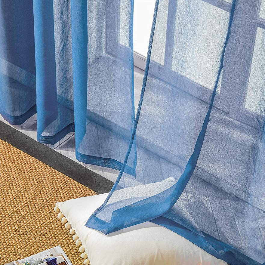 プレビスサイト飢饉周りTopfinel レースカーテン UVカット 遮熱 断熱 省エネ 北欧 無地 おしゃれ 可愛い 洗える 幅100cm×丈178cm 2枚組 ネイビー