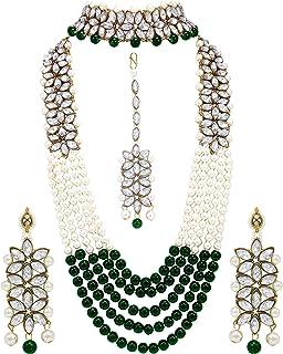 I Jewels 18K Gold Plated Traditional 5 Layers Kundan & Pearl Beaded Moti Raani Haar Necklace Jewellery Set For Women (ML16...