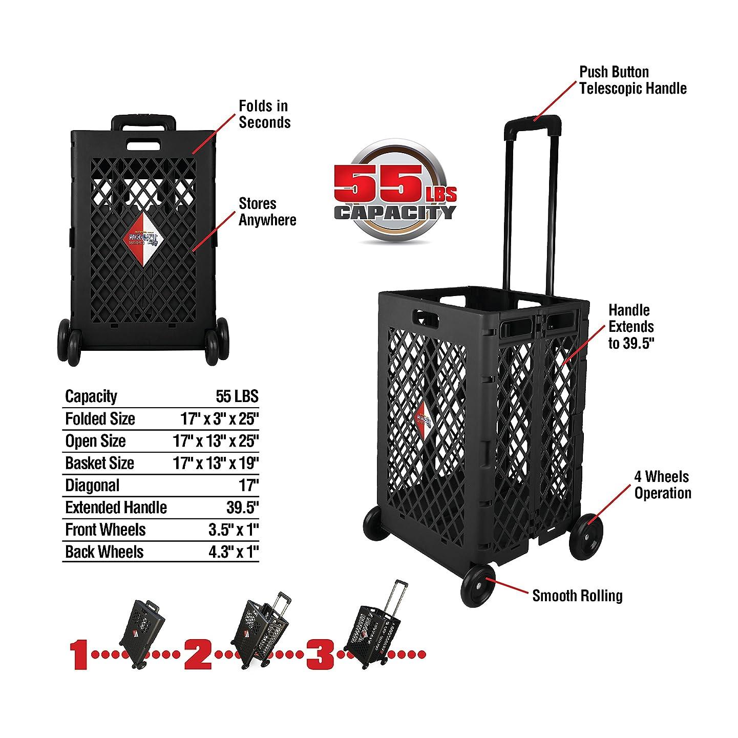 Olympia Tools 85-404 Pack-N Mesh Rolling Cart, 55 Lb, Plastic, 55LB, Black clibmvtnbejf
