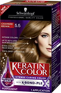 Schwarzkopf Keratin Color Anti-Age Hair Color Cream, 5.5 Cashmere Brown (Packaging May Vary), 1 Count