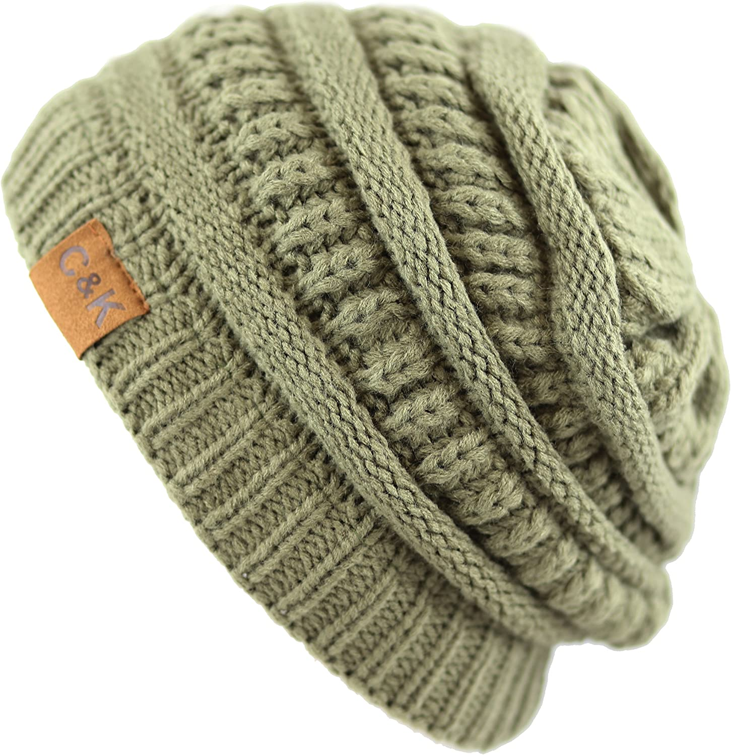 The Hat Depot Soft Stretch Cable Knit Warm Chunky Beanie Skully Winter Hat