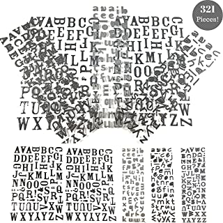 3D Puffy Stickers Black & Silver Alphabet Stickers   Perfect for Happy Planners & Scrapbooking   Extra Value Stickers Bundle - 321 Pieces!