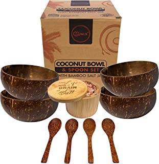Zumelon Coconut Bowl and Spoon Set - Bamboo Salt Box with Lid   Organic Eco Friendly Gifts   Vegan   Acai, Buddha, Smoothi...