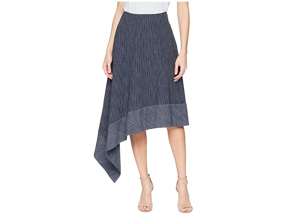 Adam Lippes Kasuri Denim Side Swag Skirt (Indigo Multi) Women's Skirt
