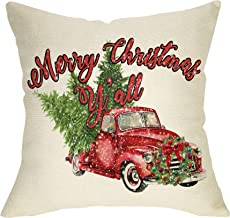 Ussap Merry Christmas Y'All Vintage Truck Tree Wreaths Winter Holiday Decoration Xmas Farmhouse Decorative Throw Pillow Cover Farm Cushion Case for Sofa Couch Home Decor Cotton Linen 18 x 18