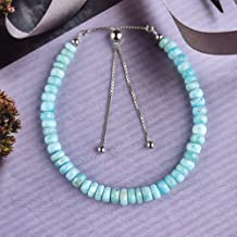 Dominican Republic Larimar And Faceted Mystic Topaz 10X15 mm Gemstone Bracelet .925 Sterling Silver 19 Grams 6-7.5 Adjustable Length
