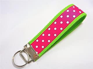 Preppy Dots Ribbon Wristlet Key Fob Keychain Shocking Pink on Lime