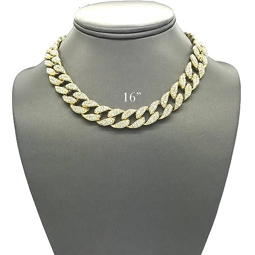 f5367f02434 Shiny Jewelers USA Mens Iced Out Hip Hop Gold Tone CZ Miami Cuban Link Chain  Choker