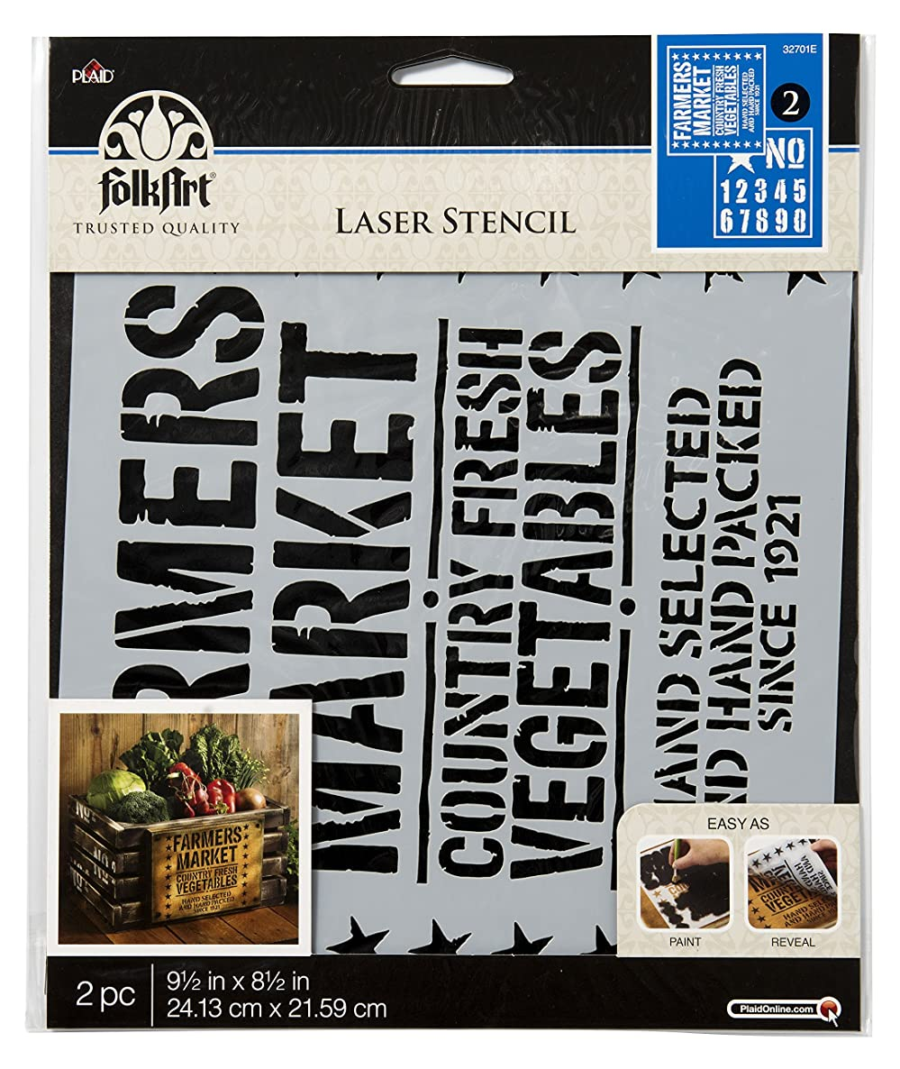FolkArt 32701E Vintage Crate, 9.5 x 8.5-Inch Coordinating Stencils (Pack of 2), 9.5