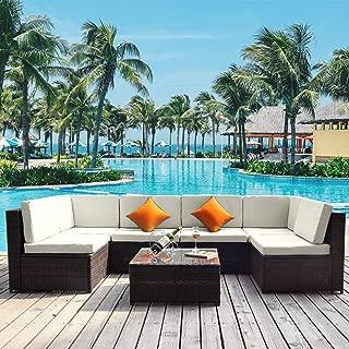GLCHQ Outdoor Patio Furniture Set PE Rattan Sectional Garden Furniture Corner Sofa Set 7PCS-Beige Cushion