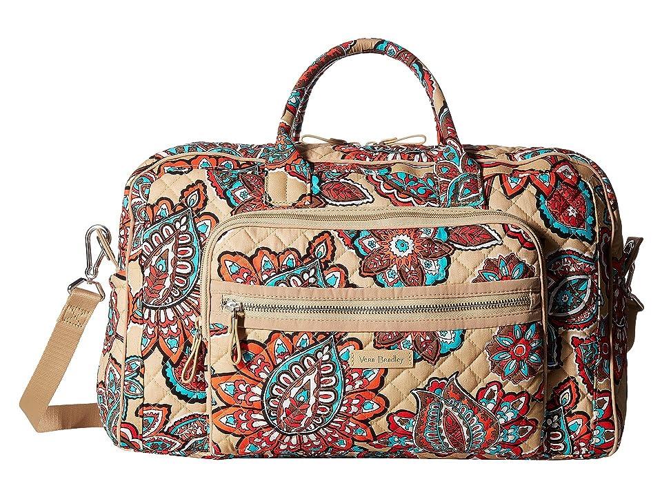 Vera Bradley Iconic Compact Weekender Travel Bag (Desert Floral) Weekender/Overnight Luggage, White