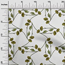 oneOone Cotton Cambric White Fabric Marigold Floral Craft Projects Decor Fabric Printed by The Yard 42 Inch Wide