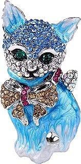 EVER FAITH® Austríaco Cristal 3D Gato Precioso Arco Broche