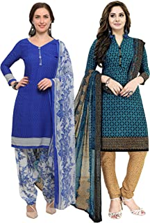 Rajnandini Women's Blue and Turquoise Crepe Printed Unstitched Salwar Suit Material (Combo Of 2) (Free Size)