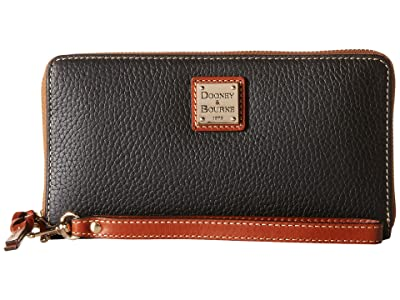Dooney & Bourke Pebble Leather Large Zip Around Wristlet (Black) Wristlet Handbags