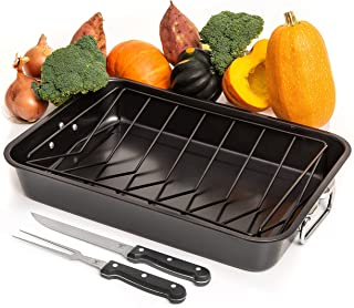 """Carbon Steel Roaster Pan With """"V"""" Shape Removable Rack Set,18-Inch Rectangular Nonstick Roasting Pan, Turkey Roaster With ..."""