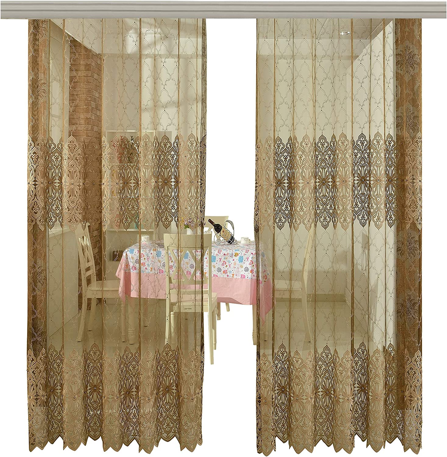Europern Style Classic Pattern Embroidered Bead Sheer Curtains Window Treatment for Bedroom Living Room001(1 Panel, W 50 x L 102 inch, Brown) 1300294C1BYBBN1501028510
