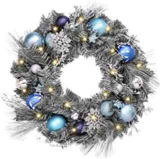 Valery Madelyn Pre-Lit 24 Inch Winter Wishes Blue Silver Christmas Wreath for Front Door with Artificial Greenery Frosted Spruce, Christmas Ball Ornaments and Snowflake, Battery Operated 20 LED Lights