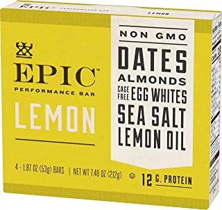 EPIC Performance Lemon Protein Bar, Paleo Compliant (8 Pack - 4 Bars Each)