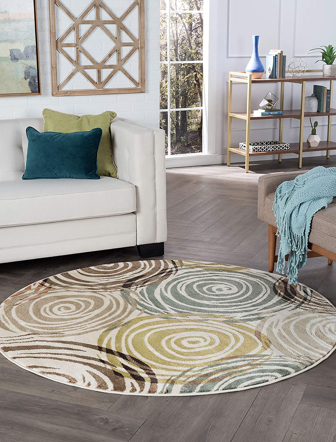 Be super welcome Joelle Ivory Machine Washable 6ft Spring new work one after another Round for Living and Room Rug