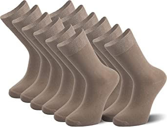 STRATO COTTON Plain Everyday Crew Socks, Cotton Rich Dress Socks, Size 6-10