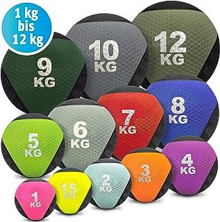 Balón medicinal de goma de colores en 1 kg, 1,5 kg, 2 kg, 3 kg, 4 kg, 5 kg, 6 kg, 7 kg, 8 kg, 9 kg, 10 kg, 12 kg, entrenamiento de fuerza, crossfit, culturismo, slamball, Wallball, rehabilitación y fitness