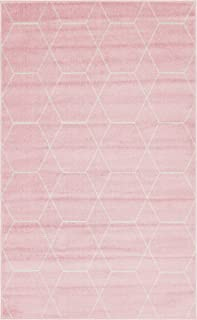 Unique Loom Trellis Frieze Collection Lattice Moroccan Geometric Modern Pink Area Rug (5' 0 x 8' 0)