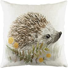 Evans Lichfield Woodland Hedgehog Cushion Cover, White, 43 x 43cm