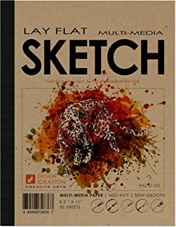 "Design Ideation Lay Flat Multi-Media Sketch Pad. Removable Sheet Sketchbook for Pencil, Ink, Marker, Charcoal and Watercolor Paints. Great for Art, Design and Education. 8.5"" x 11"""