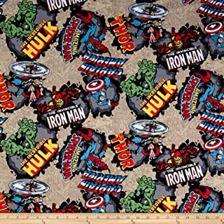 Springs Textiles Marvel Comics Cotton Comic Burst Fabric, Red, Fabric By The Yard