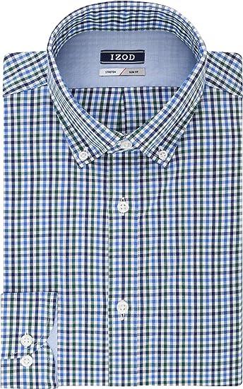 IZOD Camisa de vestir para hombre Slim Fit Stretch Check