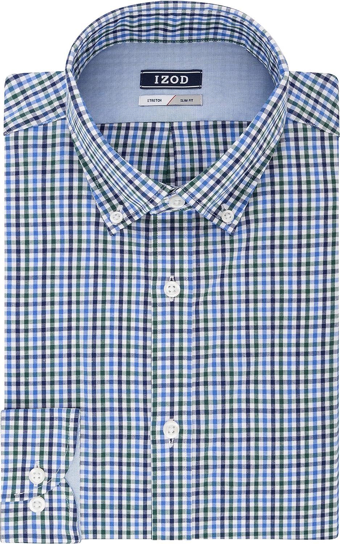 IZOD Men's Dress Shirt Slim Fit Stretch Check