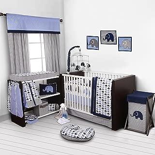 Bacati - Elephants Blue/grey 10 Pc Boys Crib Baby Bedding Set Including Bumper Pad 100 percent cotton.