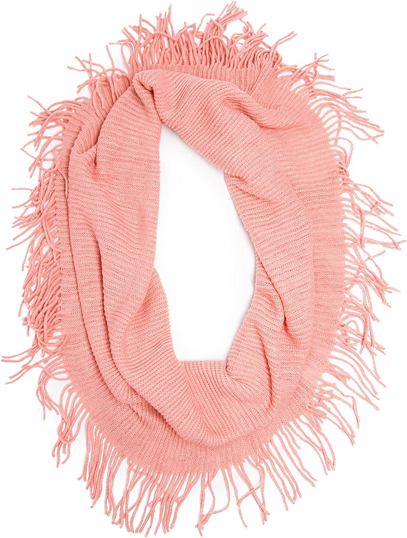 Bohomonde Jessie Infinity Scarf, Long Fringe Stretchy Ribbed Knit Infinity,