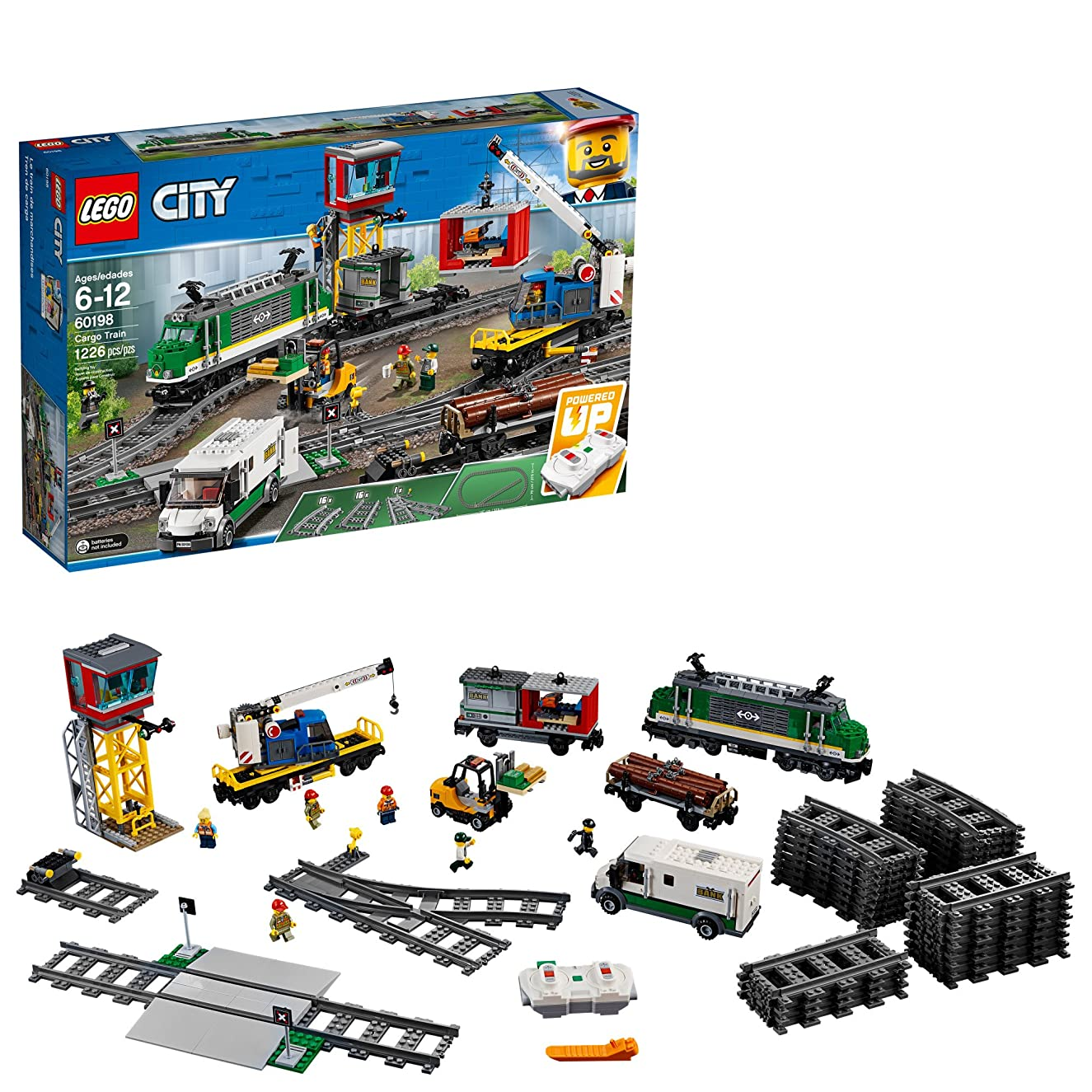 LEGO City Cargo Train 60198 Remote Control Train Building Set with Tracks for Kids, Top Present for Boys and Girls (1226 Pieces)