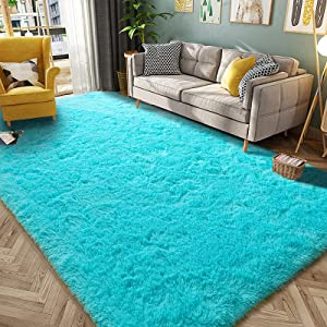 HQAYW Modern Fluffy Area Rug, Shaggy Rugs for Bedroom Living Room Ultra Soft Shag Fur Carpets for Kids Girls Nursery Plush Fuzzy Rug Cute Home Decor Rug, 4' x 6', Teal Blue