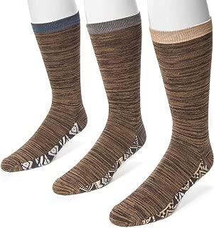 Muk Luks Men's 3 Pack Marl Socks with Pattern Bottom