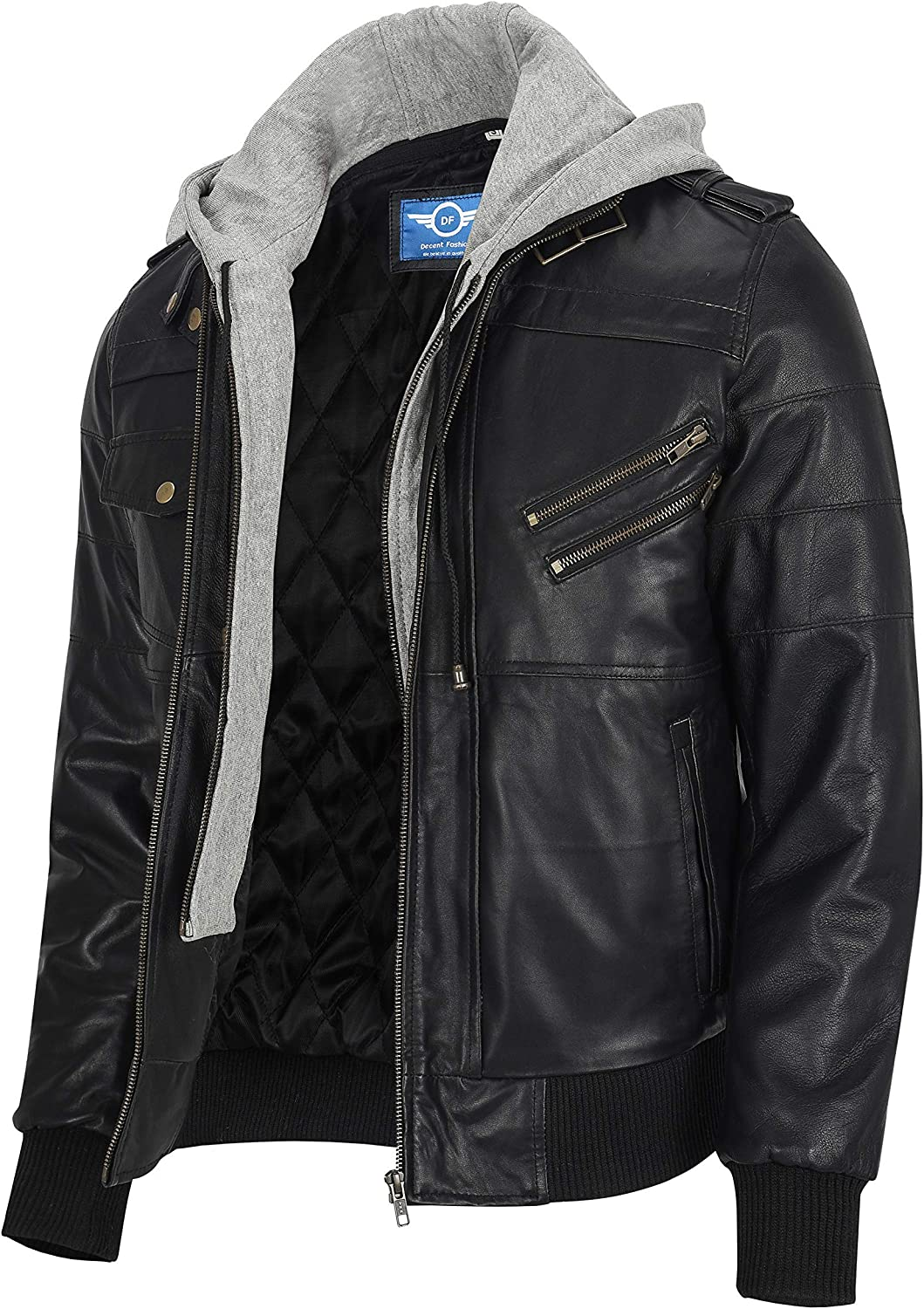 Men Brown Leather Motorcycle Jacket with Removable Hood - Leather Jackets For Men