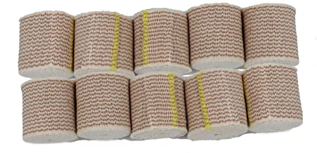 2 Inch Cotton Elastic Bandage with Hook and Loop Closure on Both Ends | 2 inches Wide x 13 to 15 feet When Stretched (10 Pack)