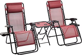 AmazonBasics Zero Gravity Chair with Side Table, Set of 2, Red