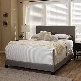 Baxton Studio Grid-Tufted Platform Bed in Gray (Queen: 83.27 in. L x 64.17 in. W x 47.05 in. H)
