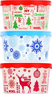 Set of 3 Christmas Themed Plastic Containers with Lids for Cookies Candy Nuts Gifts Bundle of 3 Items - 1 Snowflakes, 1 Deer, 1 Christmas Tree