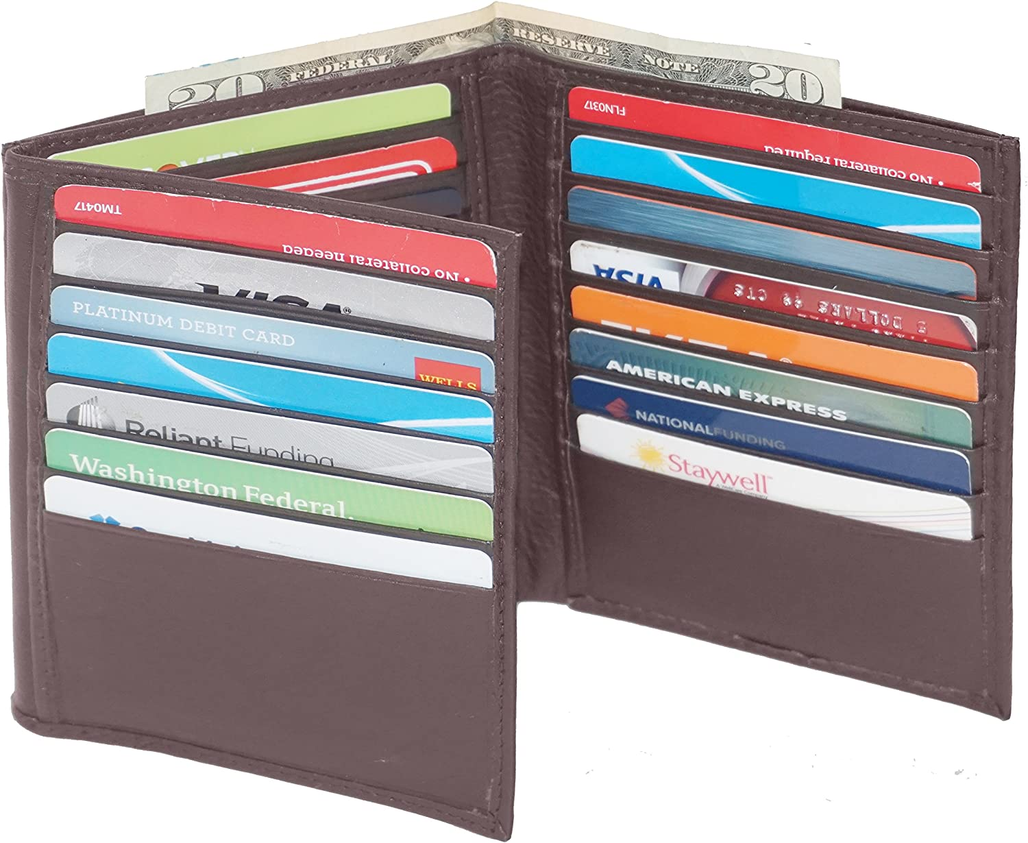 Hipster Wallet for Men | Genuine Leather Trifold Mens Wallet Credit Card Holder Brown By Bullz