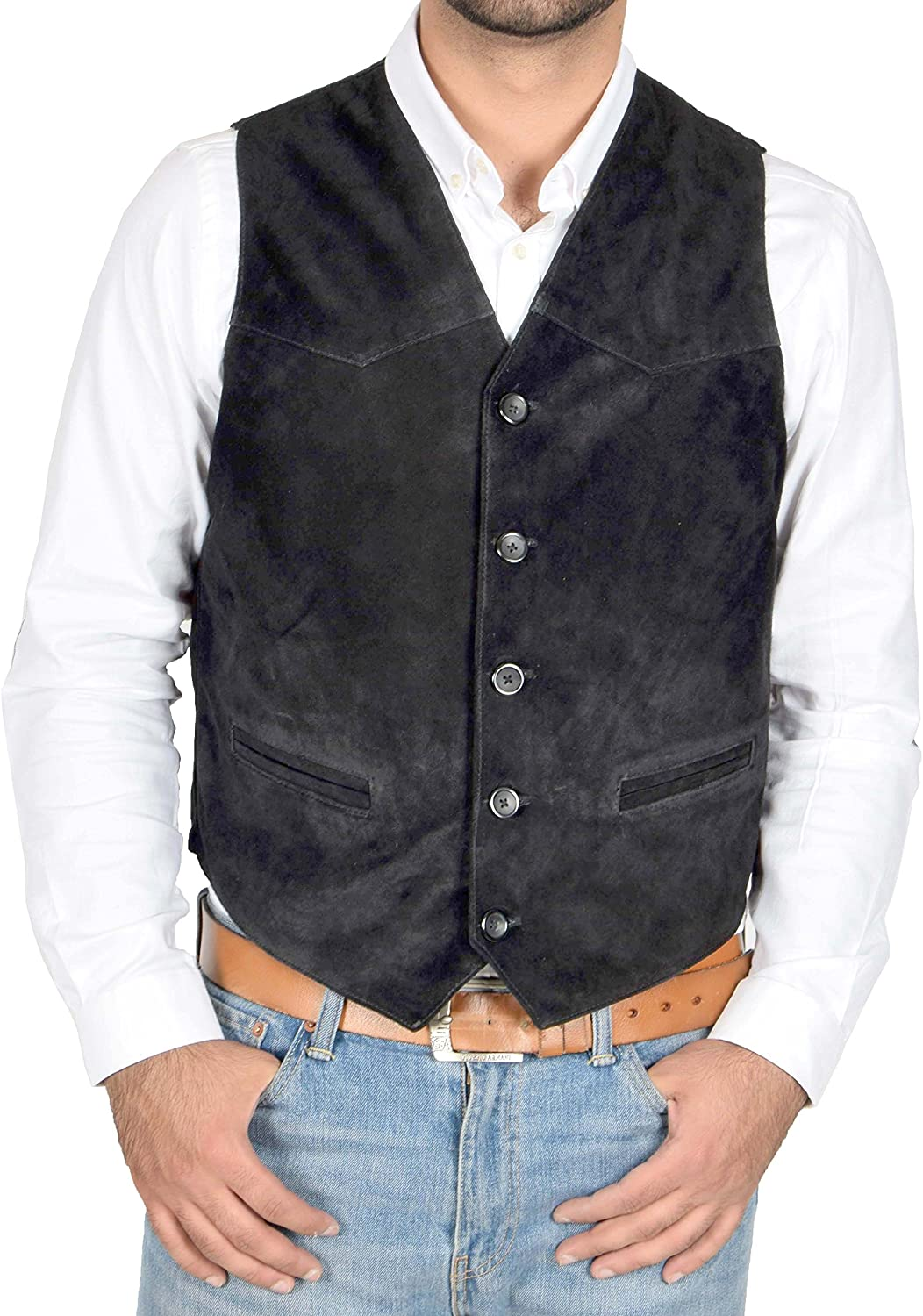 Mens Real Suede Waistcoat Classic Style Soft Black Suede Leather Vest Gilet - Cole