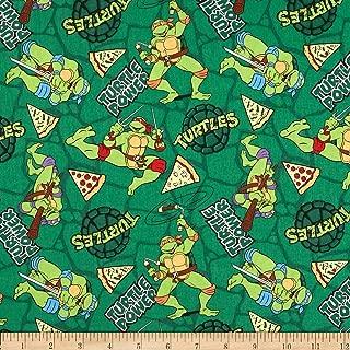Springs Creative Products Green Teenage Mutant Ninja Retro Turtle Power Pizza Toss Fabric by The Yard