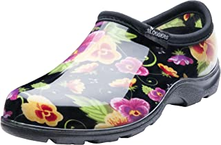 Sloggers Women's Black Pansy Flower Print Short Rain Shoes