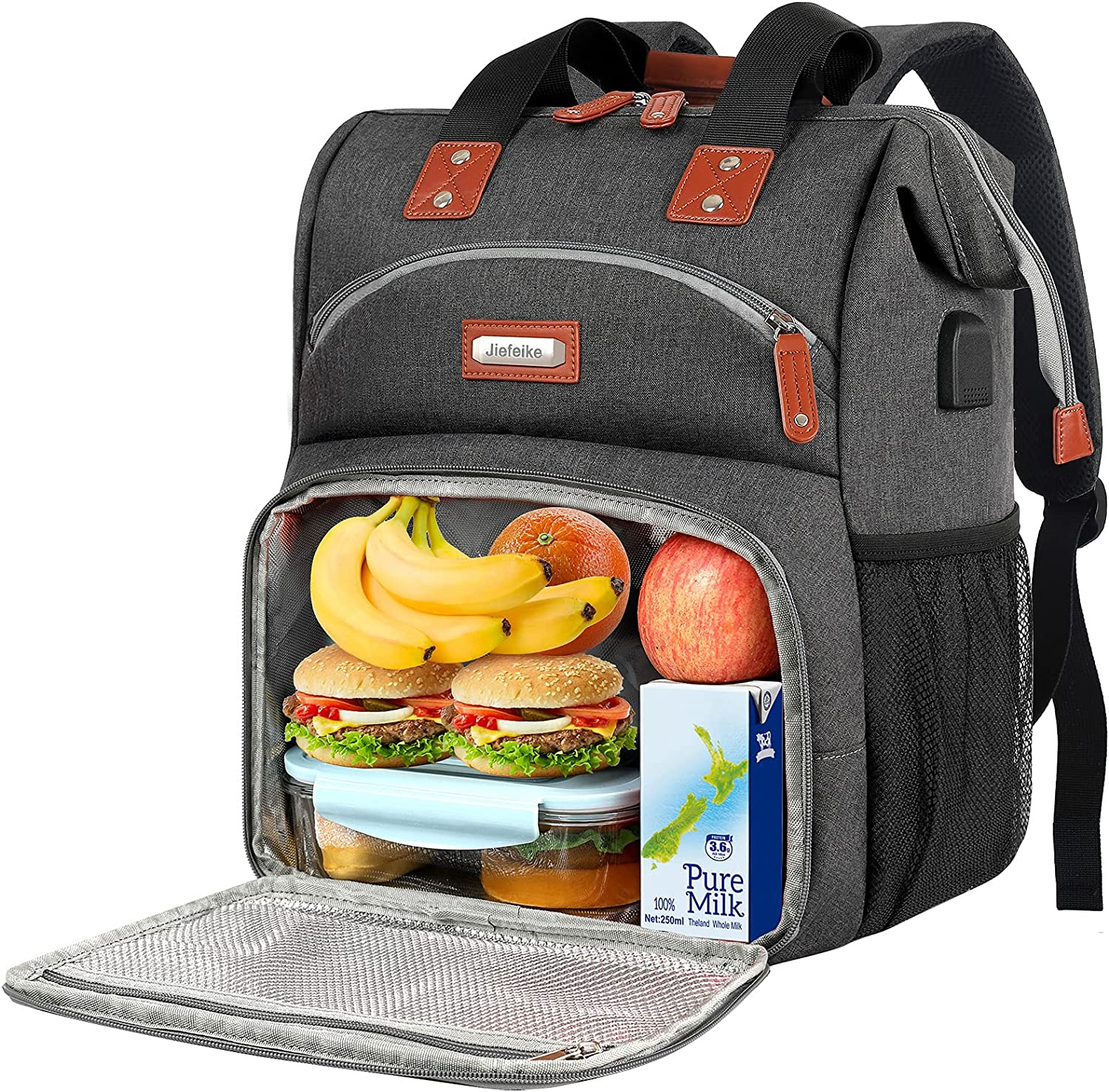 Lunch Backpack for Women, Insulated Cooler Compartment Food Bags, Men Work College Student Waterproof Reusable Lunch Box with USB Charging Port, RFID Anti Theft Large Backpack Fit 15.6 inch Laptop